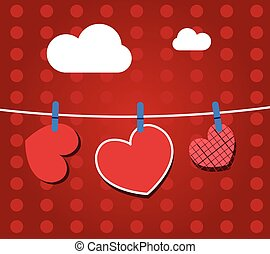 Paper hearts hanging from a rope, on red wallpaper. Part of Valentines day set. Vector art.