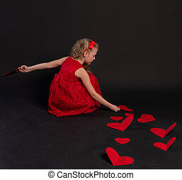 paper hearts happy, heart, on the floor hearts lovely wedding. the inspiration of the occasion. love formula of love, hearts in red dress girl, barefoot
