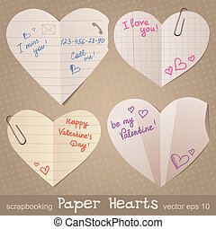 paper hearts - set of paper hearts, realistic illustration,...