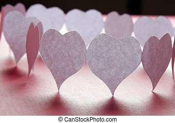 Paper hearts in a shape of a big valentine heart