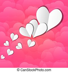 paper hearts on a background of clouds