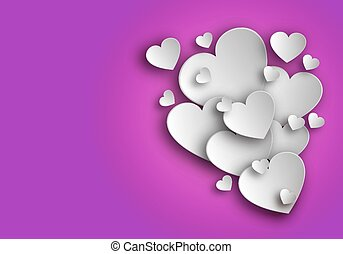 paper hearts on a pink background - Paper hearts on a pink...