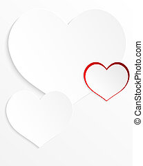 Paper hearts on a white background