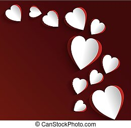 Paper hearts on dark red background