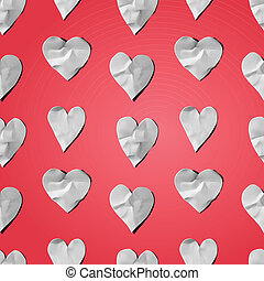 Paper hearts - seamless art craft pattern, vector eps10...