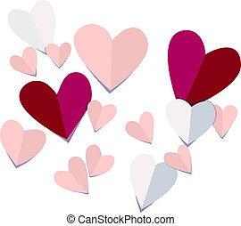Paper Hearts - Trompe l'oeil vector of 3D paper heart cut...