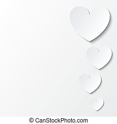 Paper hearts Valentines day card on white.