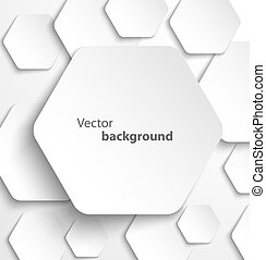 Paper hexagon banner with drop shadows. Vector illustration