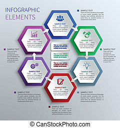 Paper hexagons infographics