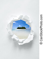 Paper hole with tropical beach scenery