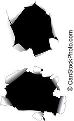 Paper holes - vectorial image of two holes in paper