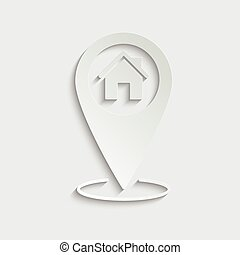paper home vector icon;  black map pointer with house icon