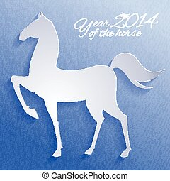 Paper horse. New year card.