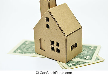 Paper house model and money