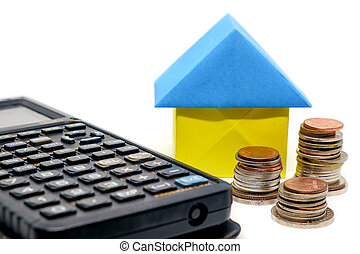 Paper house origami, money coins and calculator on white background