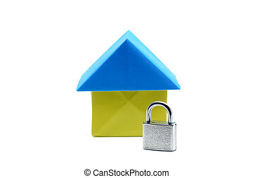 Paper house origami with lock key on white background