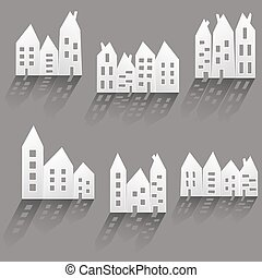 Paper houses with long shadow - Illustration of paper houses...