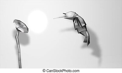 Paper hummingbird - Creative animation, paper hummingbird.