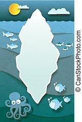 Paper iceberg in Antarctica deep cold ocean with fish and octopus vector