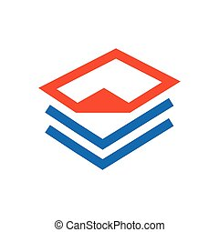paper icon and Logo design blue, orange