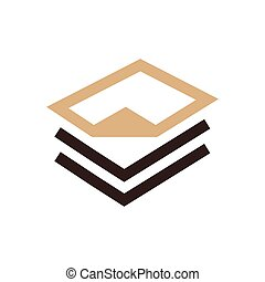 paper icon and Logo design brown color