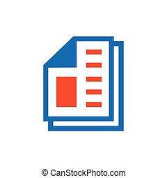 paper icon and Logo vector blue, orange