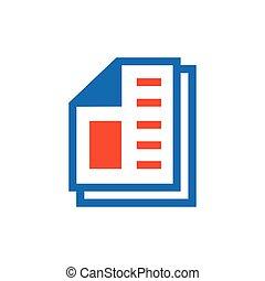 paper icon and Logo vector blue, orange