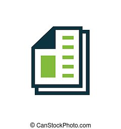 paper icon and Logo vector green, blue color