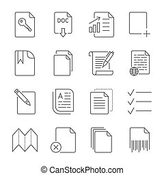 Paper icon, Document icon. Editable Stroke
