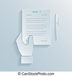 Paper icon of a hand holding a business offer agreement or contract with a pen alongside for signing the deal
