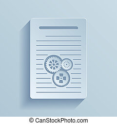 Paper icon of document with gears. Vector illustration EPS10