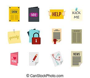 Paper icon set, flat style