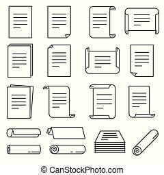 Paper icon set in thin line style. Vector illustration.