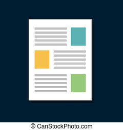 paper icon social network document blue background