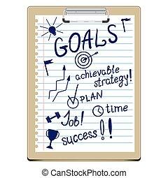 paper., il, but, sélection, écrit, goals., monture, idée, success., keywords, icônes, presse-papiers, plan., business, planification, lettrage, stratégie, contient, main, plan