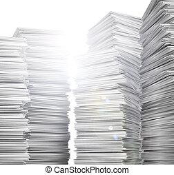 paper., illustratie, schoonmaken, witte , stapel, 3d