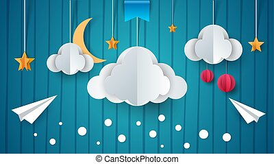 Paper illustration. Airplane, cloud, moon, star.