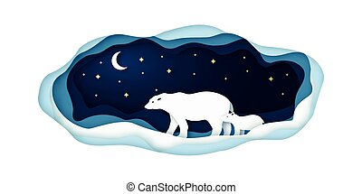 Paper illustration with polar bears going at night on the north pole.