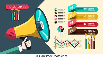 Paper Infographic Design with Megaphone and Graphs. Four Steps Vector Business Website Infographics Layout.