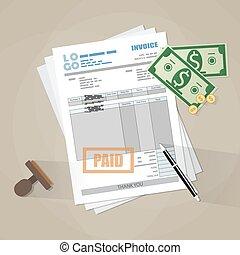 paper invoice form, paid stamp, pen, cash money