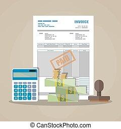 paper invoice, paid stamp, calculator, cash money