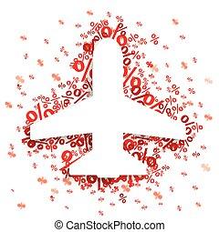 Paper Jet Emblem Red Percents - Paper jet with red percents ...
