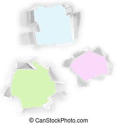 paper., jogo, buracos, branca
