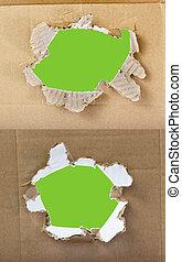 paper., jogo, buracos, papelão