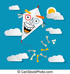 Paper Kite on Sky with Clouds and Sun Vector Illustration