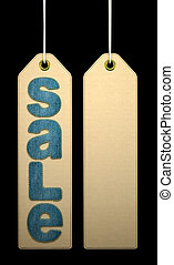 Paper label with denim SALE word on black background