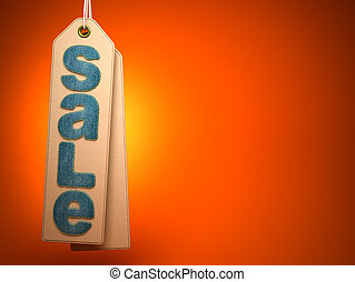 Paper label with denim SALE word on orange background