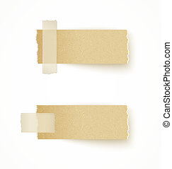 paper labels attached with sticky tape on white background