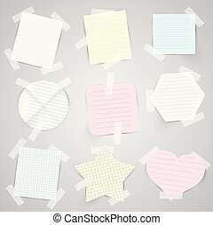 Paper labels with sellotape, vector