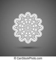 Paper lace doily, decorative snowflake, mandala, round crochet ornament, vector illustration